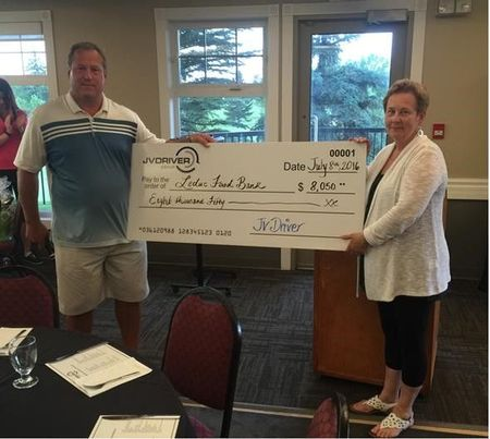 2016-07-08 JV Driver Golf Tournament donation cheque presentation